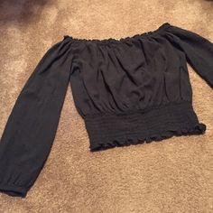 Michael Kors Dark Gray Off Shoulder Crop Top Dark gray in color.  Stretchy bottom MICHAEL Michael Kors Tops Crop Tops