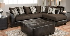 These classically chic charcoal sofa & loveseat set are covered in a smooth cotton fabric. The brightly colored accent pillows add a pop of color! Only $549.95!