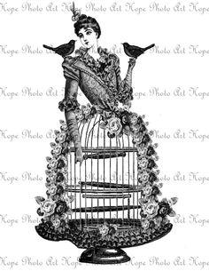 Victorian Birdcage Lady Steampunk Image Transfer by HopePhotoArt