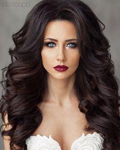 Makeup and hair Curly Wedding Hair, Wedding Hair And Makeup, Bridal Hair, Hair Makeup, Curled Hairstyles, Bride Hairstyles, Pretty Hairstyles, Pageant Hair, Brunette Hair