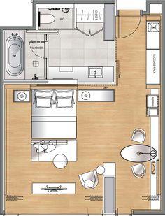 hotel room plan - Buscar con Google                                                                                                                                                                                 Más