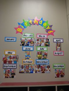 Great way to display birthdays in a preschool classroom. Pictures of students holding the number of their birthday