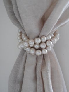 SET OF 4 decorative faux pearls drapery by MilanChicChandeliers