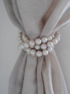 SET von 4 dekorativen großen faux Perlen drapierung Inhaber, Krawatte Rücken, shabby chic gardine Inhaber