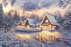 Christmas Lodge - Thomas Kinkade - World-Wide-Art.com