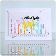 "Karte zum Umzug | card for someone moving into a new home - Gummiapan ""Houses"", Avery Elle ""Postage Stamp Dies"", Create A Smile Stamps ""Kleine Worte"", Distress Ink, Pretty Pink Posh ""Sparkling Clear Sequins"""