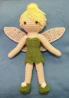 "This is a pattern for a crocheted ""Tinkerbell"" doll. I used a size 1 steel crochet hook and 2-ply yarn to make a 7-inch doll. For a larger doll, you can use 4-ply yarn and a size D or E aluminum hook."