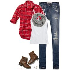 """""""Red plaid, Gray scarf & Ripped denim"""" by steffiestaffie on Polyvore"""