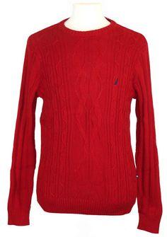 NEW Nautica Mens Sweater Fishermans Cable Knit Crewneck Cotton Red Sz S NWT $98 #Nautica #Crewneck
