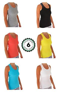 Womens Tank Tops Basic Cotton Ribbed Racerback Tanktop 6 Pack XLarge Assortment 1 ** More info could be found at the image url.Note:It is affiliate link to Amazon.