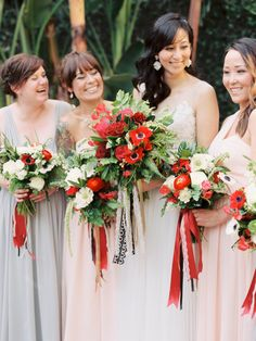 #ranunculus, #anemone, #rose, #ribbon, #red, #scabiosa  Photography: Ashley Kelemen - ashleykelemen.com/ Floral Design: Sweet Marie Designs - sweetmariedesigns.com/