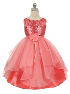 Coral Sequined Bodice Organza Layered Skirt Flower Girl Dress (Available in Sizes 4-14 in 4 Colors)