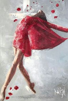 Cross behind and Woman dancing in a red dress praising the Lord, prophetic art by Maria M Oosthuizen Art Prophétique, Image Jesus, Kunst Online, Prophetic Art, Jeff Koons, South African Artists, Dance Art, Christian Art, Beautiful Paintings