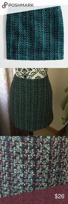 "NWT J. Crew Vibrant Tweed Mini Skirt Beautiful colors!! Gray, black and dark Aqua. PRODUCT DETAILS Wool/poly/acrylic. Sits at waist. Back zip. Lined. 17"" long. Dry clean. Import. Item 21825. J. Crew Skirts Mini"