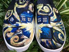 Doctor Who Exploding Tardis Custom Hand-Painted Shoes (Men's or Women's, Specify Whole Size When Ordering) by FlowersAndTheMoon on Etsy https://www.etsy.com/listing/268332862/doctor-who-exploding-tardis-custom-hand