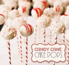 Candy Cane Cake Pops - I love the peppermint stick! I think they'd be even cuter if you mixed crushed up candy cane in the white chocolate and then drizzled with red candy melts. Christmas Cake Pops, Christmas Sweets, Christmas Goodies, Christmas Candy, Xmas Desserts, Holiday Baking, Christmas Baking, Holiday Treats, Holiday Fun