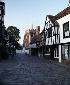 """Cobble St Leading To St Marys Church in Hitchin, Hertfordshire"" by Paul Taylor at PicturesofEngland.com"