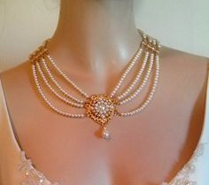 Items similar to Bridal Pearl Necklace Pearls Gold Bride Choker Bride Necklace Multi Strand Pearls Rhinestone Ivory Pearls Crystal Collar Necklace Weddings on Etsy Real Pearl Necklace, Bride Necklace, Pearl Necklace Designs, Pearl Necklace Wedding, Bridal Earrings, Pearl Jewelry, Bridal Jewelry, Beaded Jewelry, Gold Jewelry