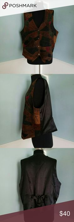 Vintage Leather Patchwork Vest, 2X Vintage leather suede vest - patchwork leather front in brown, blue and green with decorative leaf stitches throughout. Black polyester back with adjustment strap for a perfect fit. Sold by Fashion Bug in 1980s; size 2X Jackets & Coats Vests