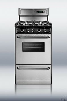 """Summit TNM13027BFKWY 20"""" Freestanding Gas Range with 4 Sealed Burners, 2.5 cu. ft Oven Capacity, Manual Clean, Digital Clock/Timer, Deluxe B..."""