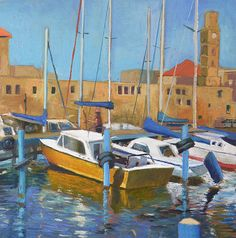 Original Painting Canvas Art Oil Painting Boat Fishing