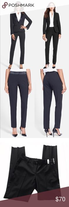"After Six Tux Pants 🌸 Mid rise. A satin waistband and side stripes polish the tuxedo vibe of tapered stretch-wool pants, giving you a smart alternative to traditional cocktail-hour style. 32"" inseam; 9 1/2"" front rise; 14"" back rise (size 8) Zip fly with hook-and-bar closure Side-seam pockets Unhemmed for easy tailoring Unlined 96% wool, 4% Lycra® spandex; 100% polyester satin trim Dry clean Made in the USA After Six Pants"