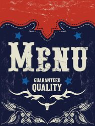 Vector american grill - steak - restaurant menu design - western style by Julio Aldana, via ShutterStock
