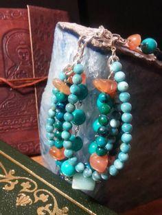 multi-strand-desert-sky-bracelet! #Turquoise #orange #bracelets #multistrand #beads