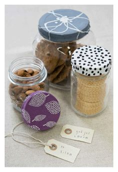 Great gifts for quilters - fabric covered jars filled with goodies and notions! quiltingdaily.com