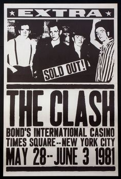 Items similar to Greeting Card: The Clash punk rock show flyer on Etsy Tour Posters, Band Posters, Movie Posters, The Clash, Vintage Concert Posters, Vintage Posters, Nova York Poster, Musica Pop Rock, Rock And Roll