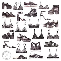 Black shoes black bras watercolor illustration