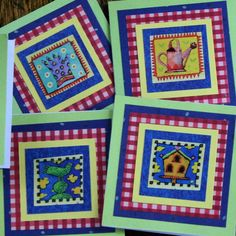 Gingham Gardening mini Cards Green Blue Red by SandrasCardShop, $4.00