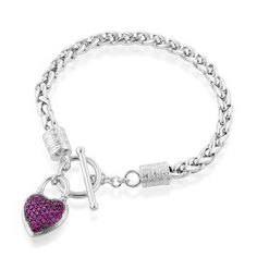 Sterling Silver Red CZ Heart Wheat Link Toggle Bracelet