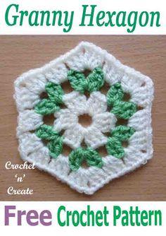 Crochet Granny Square Design FREE crochet pattern for granny hexagon, crochet a few to make bags, blankets, shawls etc with them. Hexagon Crochet Pattern, Crochet Squares, Crochet Granny, Crochet Motif, Crochet Designs, Crochet Stitches, Crochet Baby, Knit Crochet, Crochet Patterns