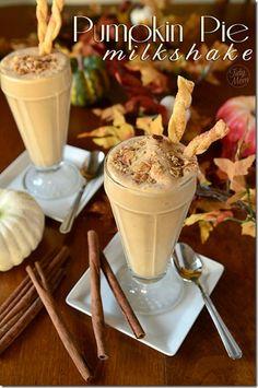 Pumpkin Pie MilkShake with Pie Crust Straws