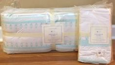 Baby Nursery: New Pottery Barn Kids Baby Claire Embroidered Crib Nursery Bedding Set Aqua Blue BUY IT NOW ONLY: $149.99