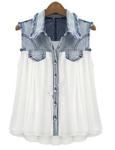 Dress up and add flair to an old Chambray shirt! Stiching Denim Lapel Sleeveless White Chiffon Shirt pictures
