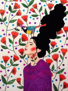 Paintings by Hülya Özdemir - Ego - AlterEgo Art Watercolor, Illustration Mode, Paper Illustration, Arte Popular, Portrait Art, Female Art, Art Inspo, Art Girl, Painting & Drawing