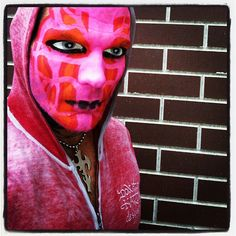 Ottumwa, IA - 18 Aug 2012 (Heh, Jeff Hardy was wearing pink on my birthday. For some reason this makes me happy. Jeff Hardy Face Paint, Hardy Brothers, Wwe Jeff Hardy, The Hardy Boyz, Cool Face, Creatures Of The Night, Leather Jacket, Wrestling, Instagram Posts