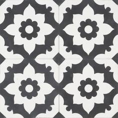 Black Sol Tile, a classic that will always remain a favourite. White Tile Texture, Tiles Texture, Annie Sloan Paint Colors, Annie Sloan Paints, Motif Design, Tile Design, Machuca Tiles, Cement Tiles, Vinyl Tiles