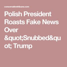 "Polish President Roasts Fake News Over ""Snubbed"" Trump"