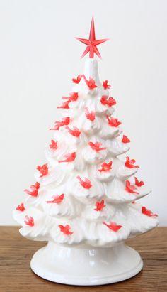 Ceramic Christmas Tree White with Red birds by MnMCustomCeramics