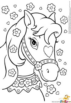 Horse with hearts & flowers More
