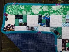 Baby quilt of Vietnamese fabrics: detail of corner and backing 13.3.14