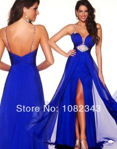 Free Shipping New Fashion Royal Blue Beading Spaghetti Side Slit Chiffon Evening Gown Mermaid Prom Dresses2014