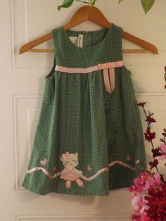 Girls BONNIE JEAN Green Corduroy Dress w/pink bow & kitten design SZ 4T #BonnieJean #DressyEverydayHoliday #kids clothing #shopping Starting price $7.50 on EBAY
