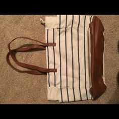 Blue and white stripe bag Bath and Body Works navy and white striped bag...excellent condition Bags