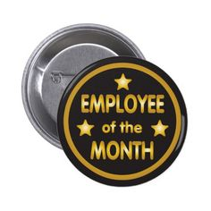 Employee of the Month Gold Stars Button