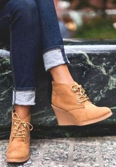 tan wedge bootie, How to wear ankle booties http://www.justtrendygirls.com/how-to-wear-ankle-booties/