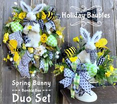 Excited to share this item from my #etsy shop: Easter  Wreath, Easter Bunny Wreath, Bunny Centerpiece, Spring Easter Wreath, Easter Decor, Easter Wreath Duo Set Easter Wreaths, Holiday Wreaths, Tulle Wreath, Plaid Fabric, Easter Decor, Easter Ideas, Large White, Deco Mesh, Yellow Flowers